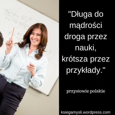 """""""Długa do mądrości droga przez nauki, krótsza przez przykłady."""" przysłowie polskie"""