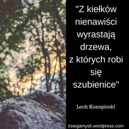 """""""Z kiełków nienawiści wyrastają drzewa, z których robi się szubienice"""" Lech Konopiński"""