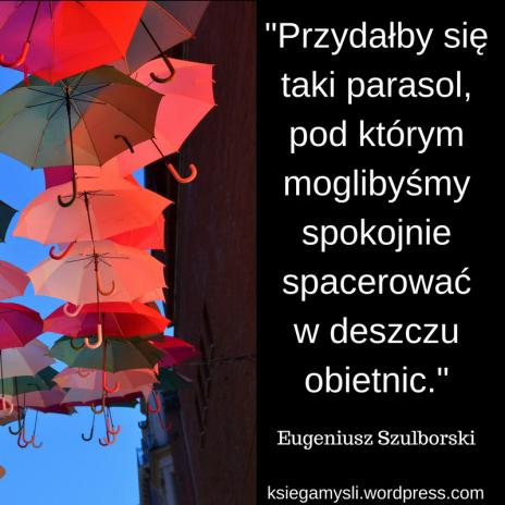 """""""Przydałby się taki parasol, pod którym moglibyśmy spokojnie spacerować w deszczu obietnic."""" Eugeniusz Szulborski"""