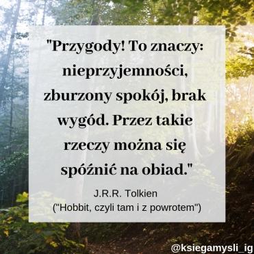 Przygody! To znaczy: nieprzyjemności, zburzony spokój, brak wygód. Przez takie rzeczy można się spóźnić na obiad. J.R.R. Tolkien – Hobbit, czyli tam i z powrotem